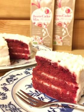 米粉でレッドベルベットケーキ