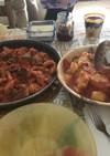 トリッパと骨つき鶏肉の煮込みお芋と一緒に