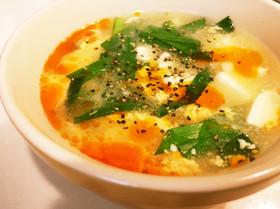 豆腐と卵、ニラの酸辣湯☆
