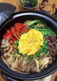 絶品鍋 トマトと卵の彩りうどんすき