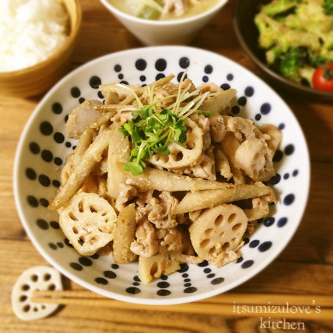 根菜と豚肉の麦味噌炒め