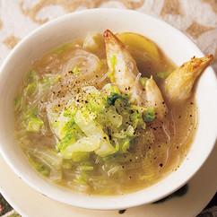 手羽先と塩もみ白菜のはるさめスープ