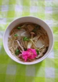 ヘルシー♪カブとキノコの中華スープ!