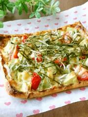 油揚げdeアボカドとしらすの和風ピザの写真