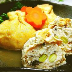 コリコリ♪鶏挽き肉とタケノコの巾着含め煮
