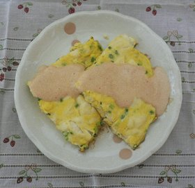 豆腐のオープンオムレツ明太マヨがけ