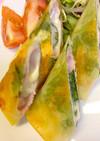 簡単揚げないハム大葉チーズの春巻