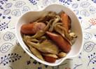 舞茸ウインナーの麺つゆバター柚子胡椒炒め