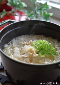 白菜と鶏挽肉のあっさり中華風にゅうめん