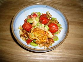 トマトと枝豆の卵炒め