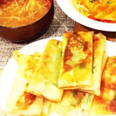 ベーコン春巻、ひき肉春巻、中華スープ