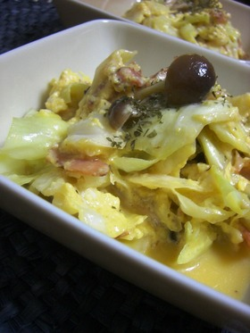 キャベツのカルボナーラ風 野菜炒め。