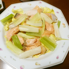 簡単♪甘塩鮭と長葱のレンジ蒸し