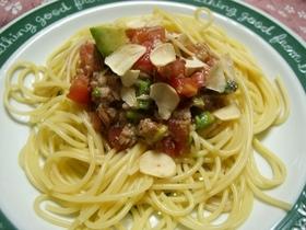 アボカドの冷たいスパゲッティ