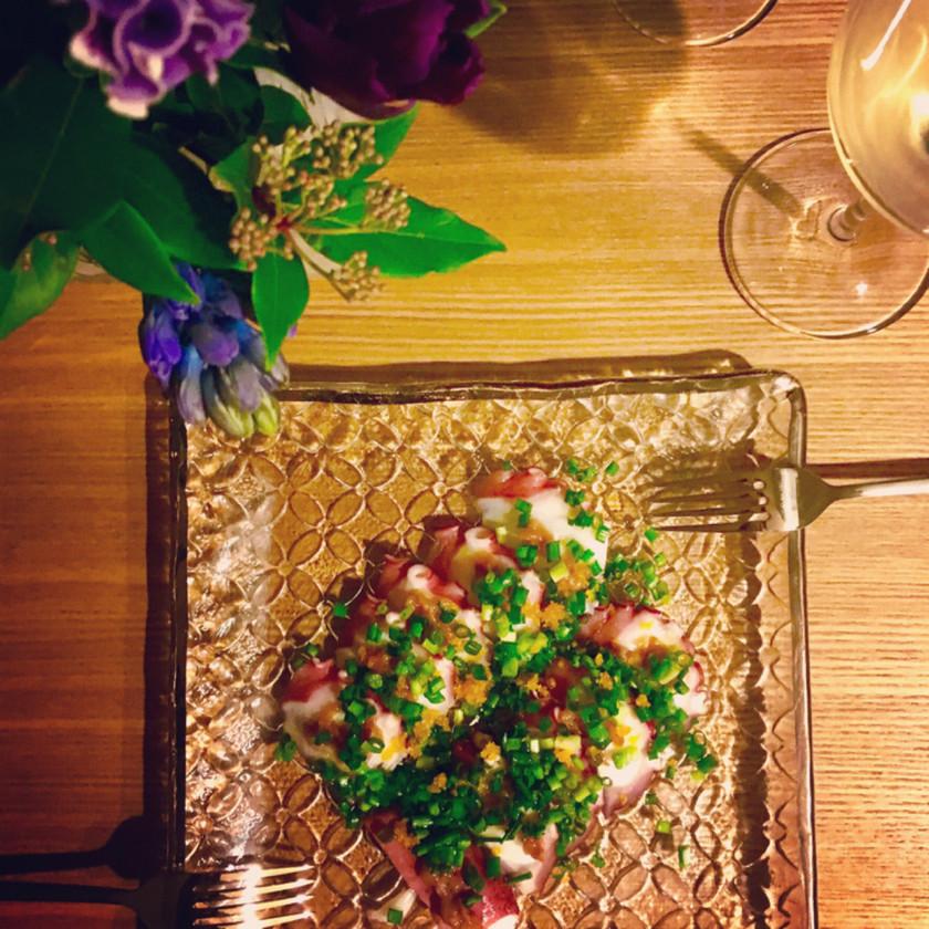 タコと梅肉、カラスミの前菜