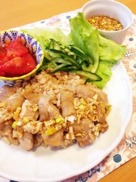 もち麦で美味♡シンガポールチキンライス風