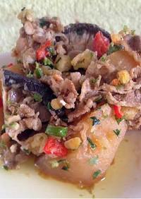 牛肉と椎茸の天かすガーリック炒め