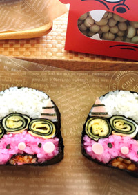 節分に♡赤鬼さんのデコ巻き寿司♡恵方巻