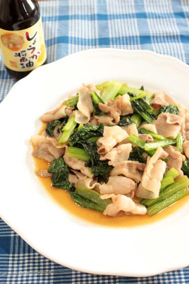 豚肉と小松菜のしょうが醤油炒め