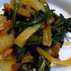 「春菊+玉葱+豚肉」のカレー粉炒めです!