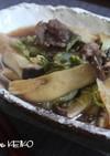 牛肉と白菜、エリンギのすき焼き風煮もの