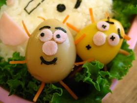鶉の卵でキャラ弁おかず☆かびるんるん☆