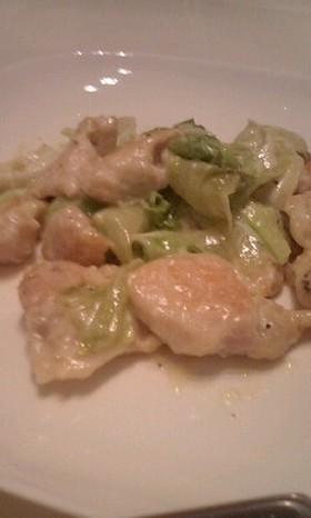 鶏肉とレタスのマヨわさ炒め