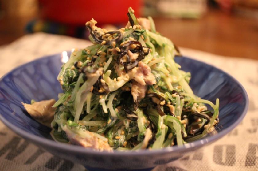 簡単美味しい♡ツナと水菜の塩昆布マヨあえ