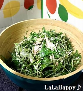 ごま風味の水菜・ツナのサラダ♪