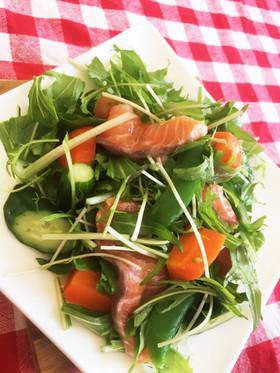 サーモンと水菜のどっさりサラダ