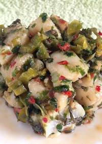 イカと高菜の塩わさび炒め