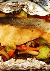 鮭のごま味噌生姜味のホイル焼き