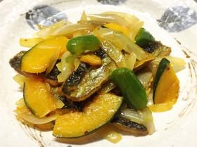 秋刀魚の竜田揚げとお野菜の照り焼き炒め