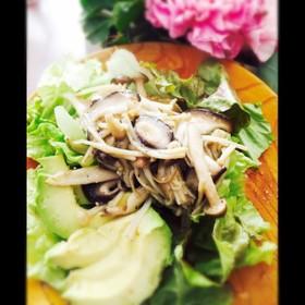簡単#キノコとアボカドのホットサラダ♪
