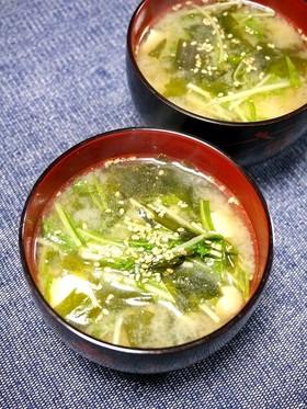 簡単!水菜の味噌汁(ピリ辛ごま風味)