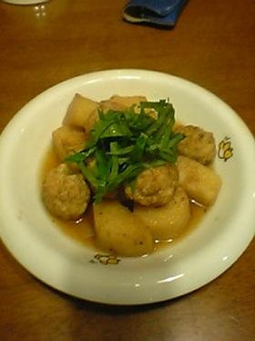 長芋と鶏つくねの揚げ煮。