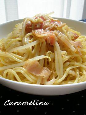 もやしの中華風ピリ辛スパゲティ