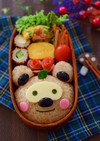 【キャラ弁】たぬきおにぎりのタヌキ弁当