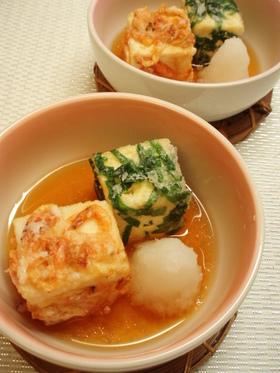 ピリッと辛子が隠し味♪2色の揚げ出し豆腐