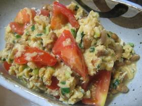 ☆中華風☆トマトと納豆、卵の炒め物