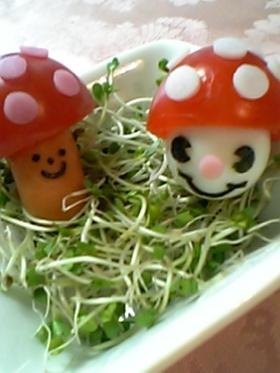 プチトマトでキノコ♪(キャラ弁おかず)