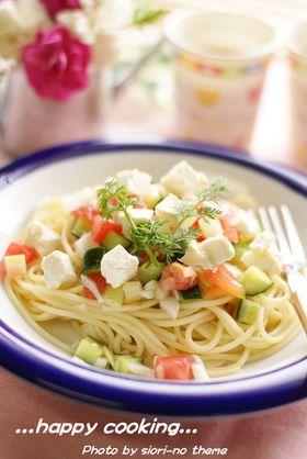トマトとクリームチーズの冷製パスタ