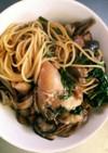 ずぼら女の牡蛎と鶏肉のアヒージョパスタ