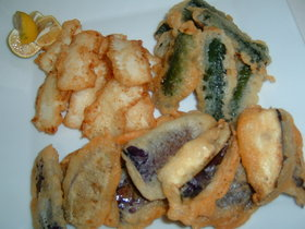 夏野菜とイカのチーズフリット