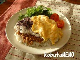 簡単朝ご飯!納豆サンドごはん