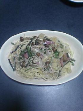 水煮山菜で和風スパゲッティ♪
