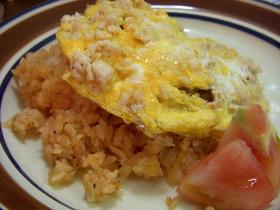 タマネギご飯+ひき肉卵のオムライス♫