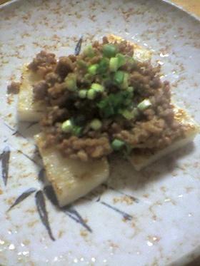 長芋の肉味噌のせ