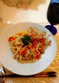 彩り豊かで簡単☆お野菜たっぷり焼うどん