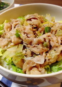 お弁当に簡単☆ネギ塩豚バラ丼*特製タレ